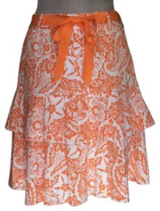 Etcetera Ruffle Size 2 Skirt Orange and white