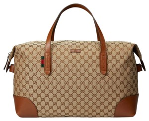 Gucci Canvas Carry-on Duffle brown Travel Bag