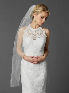 Mariell White Medium Long Fingertip Or Hip Length Single Layer Cut Edge In 4433v-42-w Bridal Veil