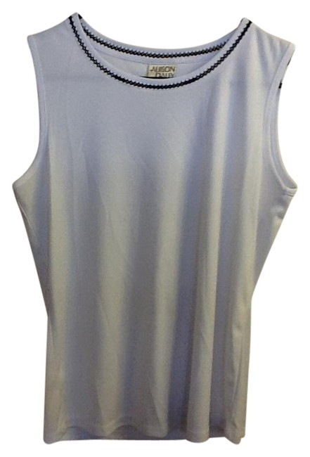 Allison Daley Sleeveless Professional Comfortable Stitching Loose Fit Top White