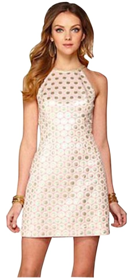 6624e215041ea8 Lilly Pulitzer Pink Pearl Halter Shift Pop Dot Jacquard Short Casual Dress