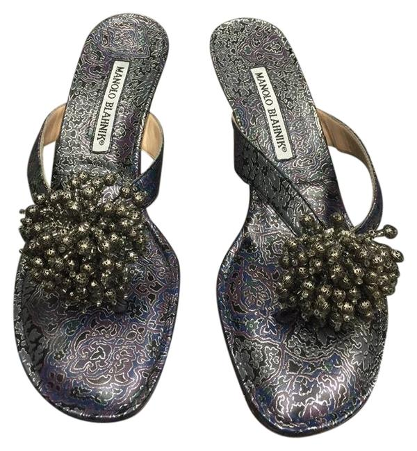 Item - Purple & Silver Fabric Sandals Size US 5.5 Regular (M, B)