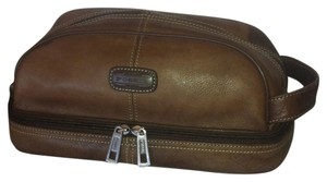 Fossil Travel Toiletries Men Leather Chocolate Brown Travel Bag