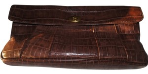 Club Monaco Leather Ariana Brown Clutch