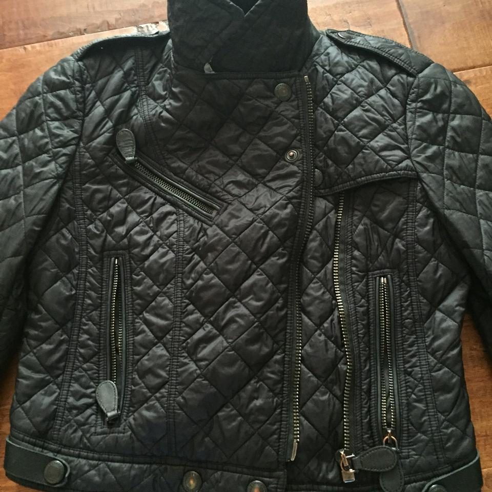 ba0939639 Burberry Brit Black Leather Trim Quilted Moto Jacket Size 4 (S ...
