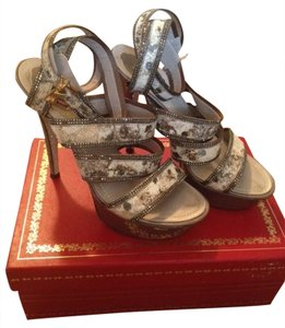Rene Caovilla Sexy Heels Designer Exclusive Grey and Silver Sandals