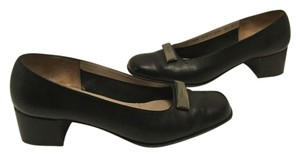 Salvatore Ferragamo Italian Black embossed leather Pumps