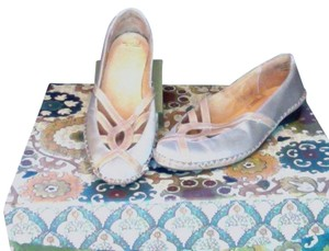 J SHOES Champagne Beige with tan leather detail Flats