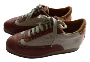 HERMES BROWN LEATHER & TAN CANVASS Athletic