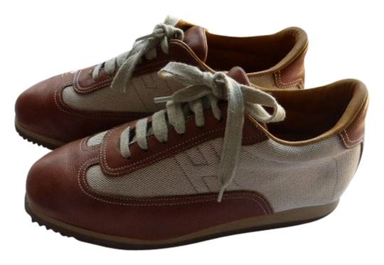 Hermès BROWN LEATHER & TAN CANVASS Athletic