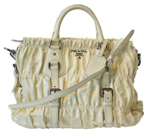 Prada Patent Shoulder Tote in Light Yellow