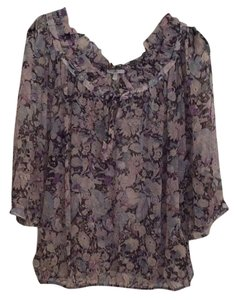 Joie Top Muted floral print black/blue/lavender
