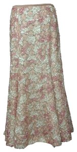 Maxi Lace Silk Maxi Skirt Pink & Cream