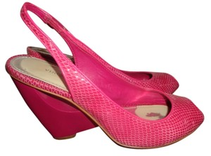 Vince Camuto Leather Lizard Wedge pink Wedges