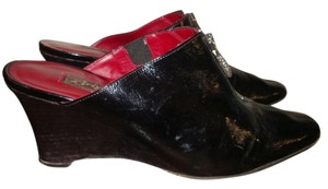 Brighton Leather Patent Leather Italy Made black Wedges