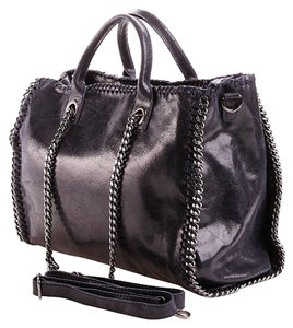 Chain Leather Shimmer Satchel in BLACK