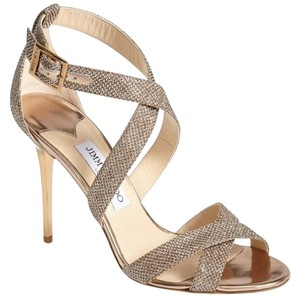Jimmy Choo Ankle Strap Stilleto Heel Crisscross Strap Wedding Bridal bronze Sandals