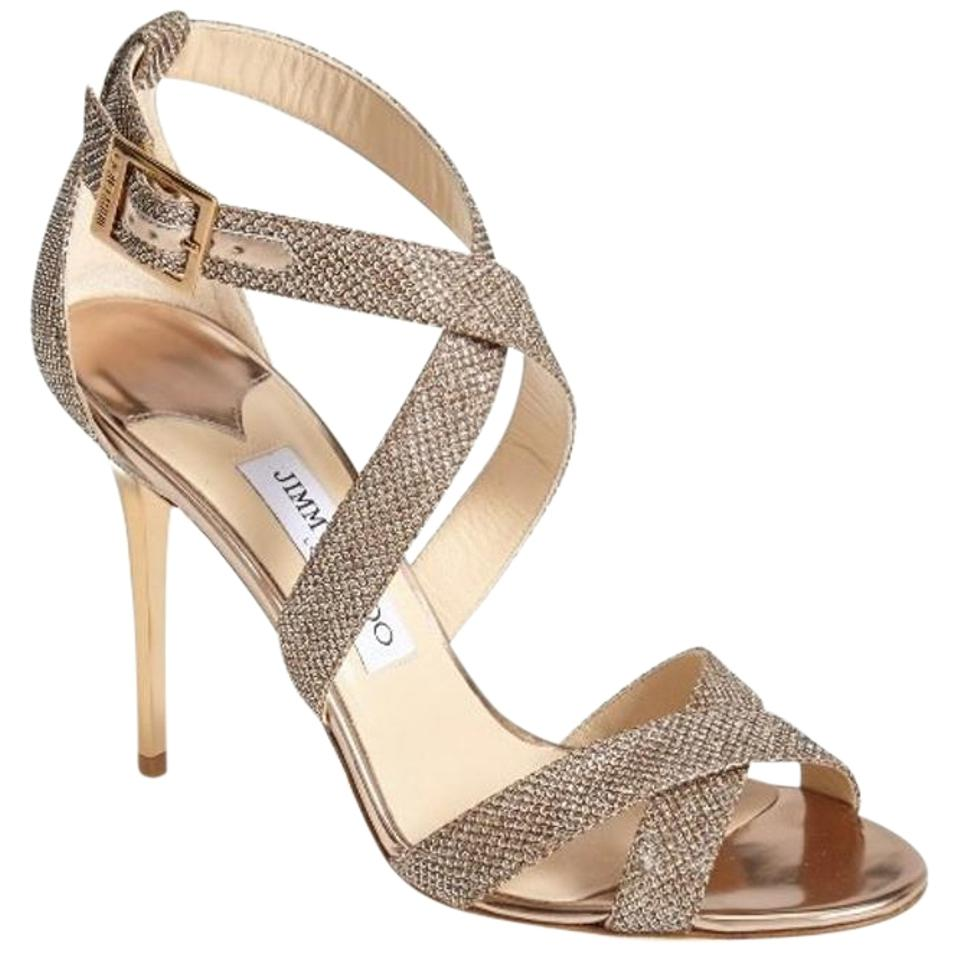 5aa4c2a81475 Jimmy Choo Ankle Strap Stilleto Heel Crisscross Strap Wedding Bridal Gold  Sandals Image 0 ...