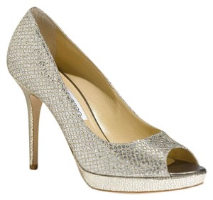 Jimmy Choo Glitter Peep Toe High Heels Painted Bottom Silver Platforms