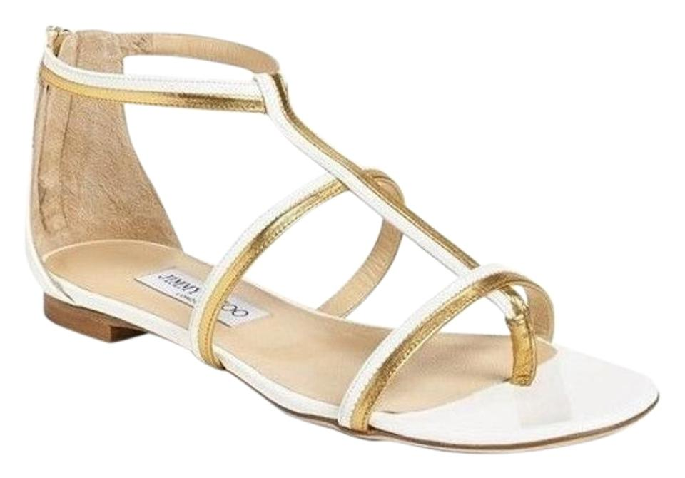 Jimmy Choo White Strappy Strappy Gold Patent Tabitha Caged T Strappy White Flats Sandals a54223