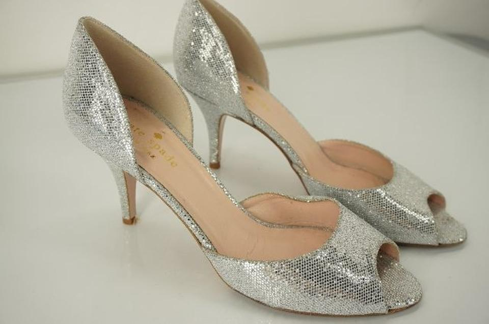 22aa74ae934 Kate Spade Silver Glitter Sage D orsay Open Toe Pumps Size US 7 Regular (M