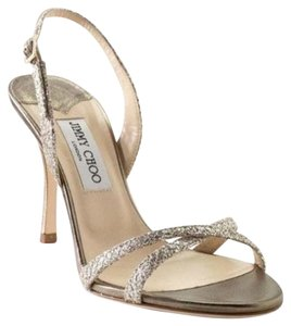 Jimmy Choo Sb-15202- Pumps Glitter Lame Strappy Silver Sandals