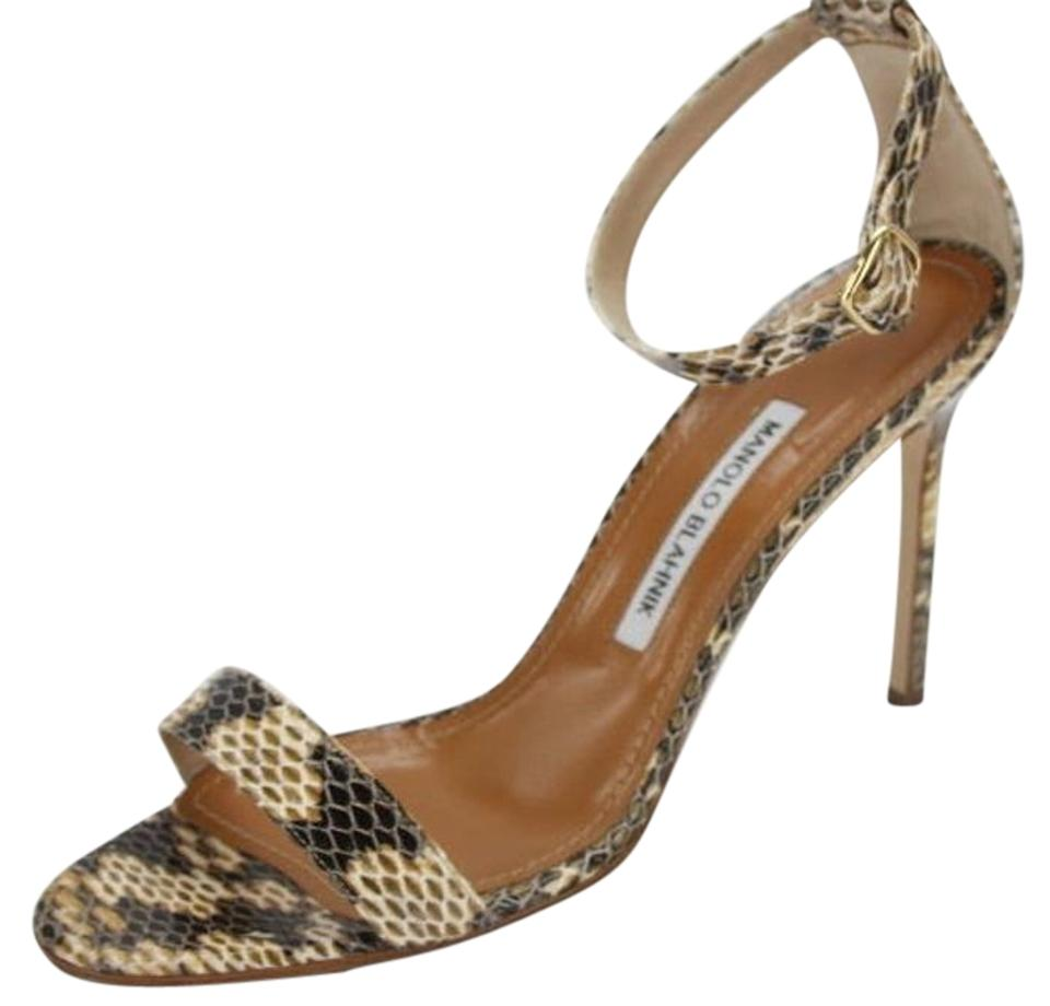7e222d94beca3 Manolo Blahnik Beige Chaos Cuff Snake Skin Ankle Wrap Sandals Formal Shoes