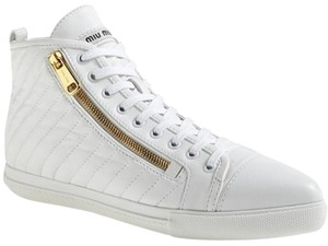 Miu Miu Gold Zipper 886742230116 New Display Size 38.5 Crosstrainer White Athletic