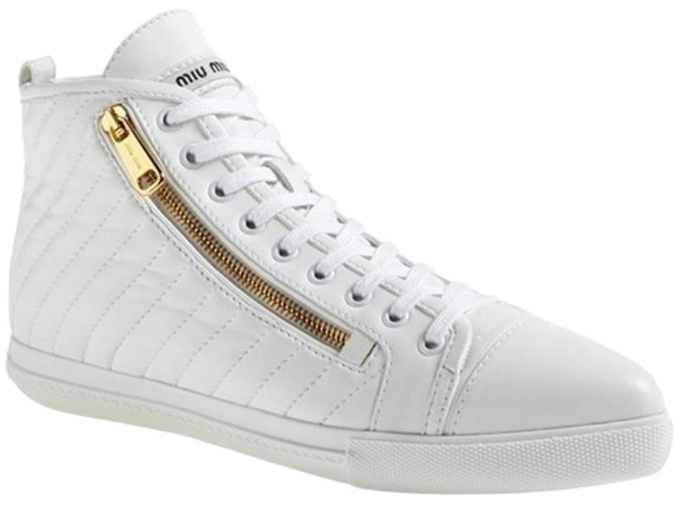 Lace High Gold Miu 5approxUs Sneakers Zipper 5RegularmB62Off 38 Retail Leather Up White Top 8 Pointy Size Eu f76vYbgy