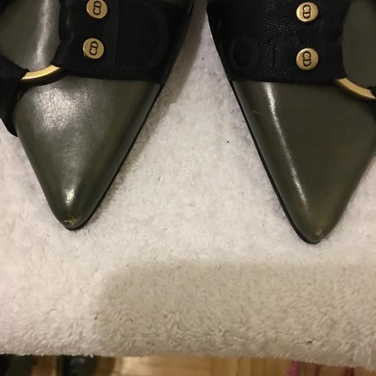 Dior Green and Black Mules Image 8