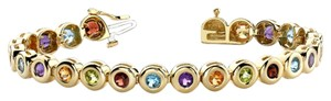 Other JewelryNest 14k Yellow Gold Multi Color Gemstone Tennis Bracelet