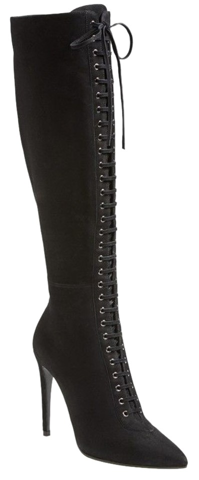 52aeb065f342 Miu Miu Black Suede Leather Lace Up High Heel Knee Boots Booties ...