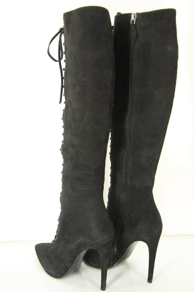 a4367c7562ff Miu Miu Black Suede Leather Lace Up High Heel Knee Boots Booties ...