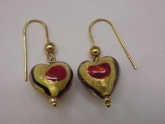 Other Incredible works of Art , Blue and Red Enameled Dangle Earings - 5.40 Gramms 14k Yellow Gold 1930s Image 2