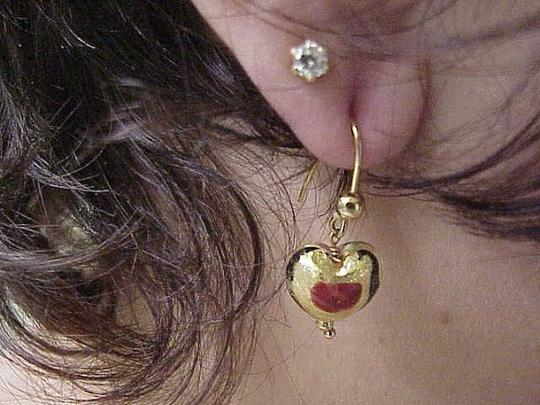 Other Incredible works of Art , Blue and Red Enameled Dangle Earings - 5.40 Gramms 14k Yellow Gold 1930s Image 3