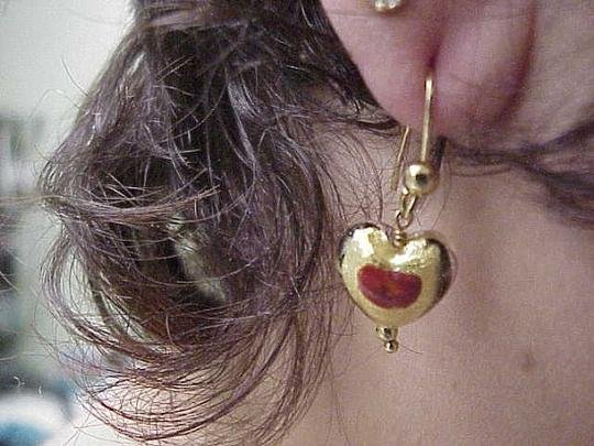 Other Incredible works of Art , Blue and Red Enameled Dangle Earings - 5.40 Gramms 14k Yellow Gold 1930s Image 4
