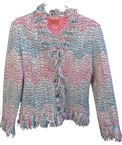 Missoni Multi-color Button Made In Italy Sweater Jacket Wool / Nylon Blend Pink / Turquoise / Black/ White / Nude Blazer