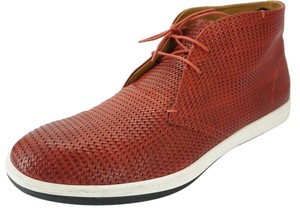 New Giorgio Armani Woven Chukka Sneaker Red White $615 Men's Shoes SZ 9.5 Tie Up
