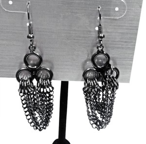 Worthington Hematite Black Chain Drop Dangle Earrings