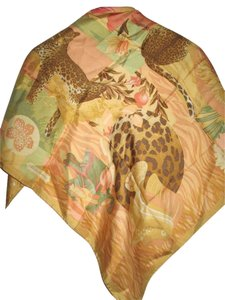 Salvatore Ferragamo Authentic Salvatore Ferragamo Wild Cougar in forest Hand-rolled Silk Scarf- With Box
