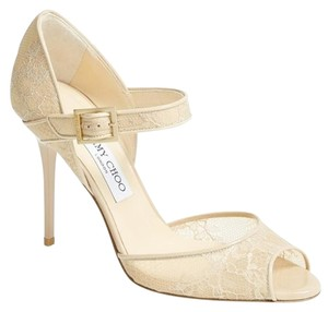 Jimmy Choo Mesh Lace Mary Jane Open Toe Beige Pumps