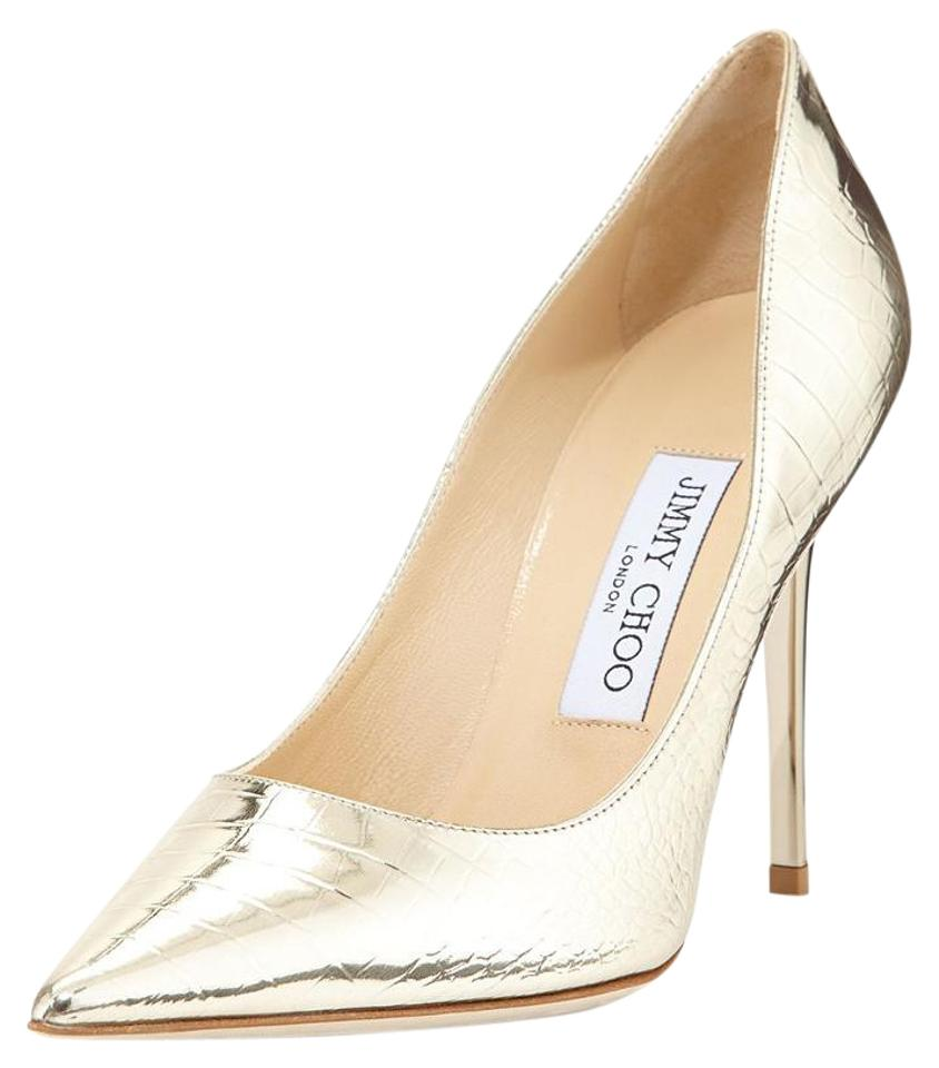 b7b32303d7b6 Jimmy Choo Gold Abel Croc Embossed Leather Pointy Toe Pumps Size EU ...