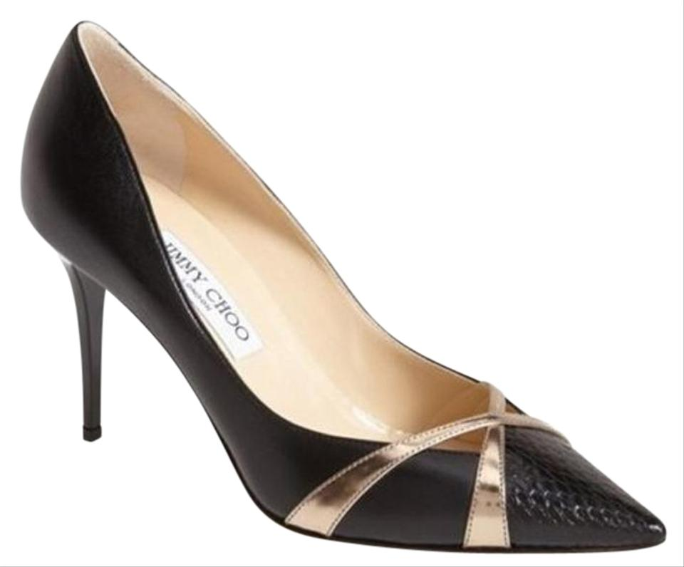 92b66822bd8a Jimmy Choo Black Leather Multi Haxeel Metallic Gold Criss Cross Pointy Pumps.  Size  EU 38.5 ...
