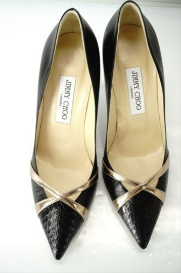 Jimmy Choo Formal Party Snake Pointed Toe Black Pumps Image 10