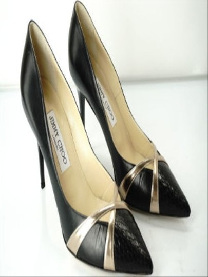 Jimmy Choo Formal Party Snake Pointed Toe Black Pumps Image 5