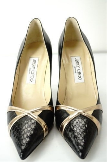 Jimmy Choo Formal Party Snake Pointed Toe Black Pumps Image 9