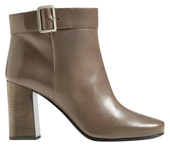 Item - Gray Leather Block Heel Square Toe Top Strap Ankle Boots/Booties Size EU 39 (Approx. US 9) Regular (M, B)