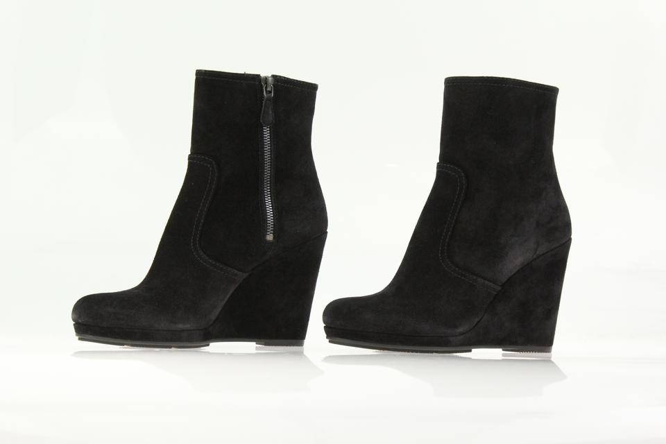 d0168f5cb60 Prada Black Suede Platform Wedge Ankle Boots Booties Size EU 38.5 (Approx.  US 8.5) Regular (M