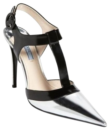 Preload https://img-static.tradesy.com/item/13422568/prada-silver-leather-black-ankle-t-strap-pointy-toe-leather-pumps-size-eu-395-approx-us-95-regular-m-0-1-540-540.jpg
