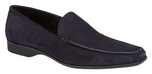 Prada Blue Suede Venetian Loafers size 8 Piping slip on driving New Mens $680